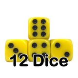 Yellow Opaque 16mm Pipped d6 Dice (12 count)