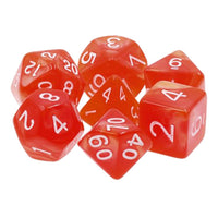Red Pearl Dice - 7 Polyhedral Set (Acrylic)