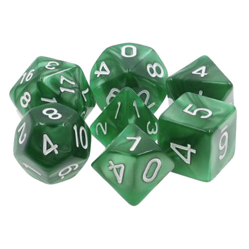 Dark Green Pearl Dice - 7 Polyhedral Set (Acrylic)