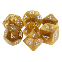 Gold Pearl Dice - 7 Polyhedral Set (Acrylic)