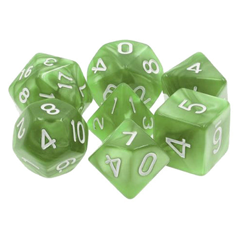 Pale Green Pearl Dice - 7 Polyhedral Set (Acrylic)