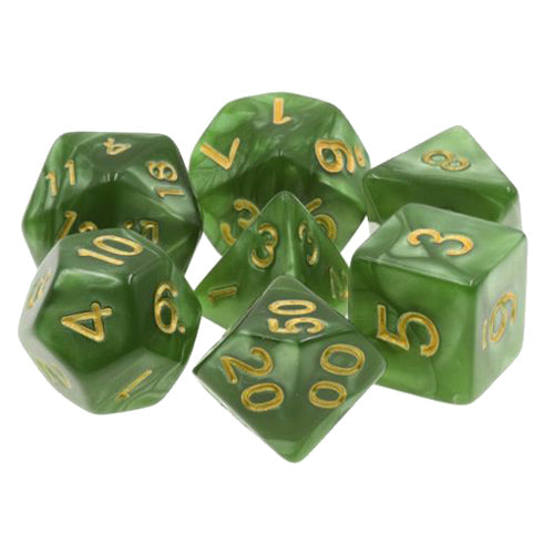 Grass Green Pearl Dice with Gold Numbers - 7 Polyhedral (Acrylic)
