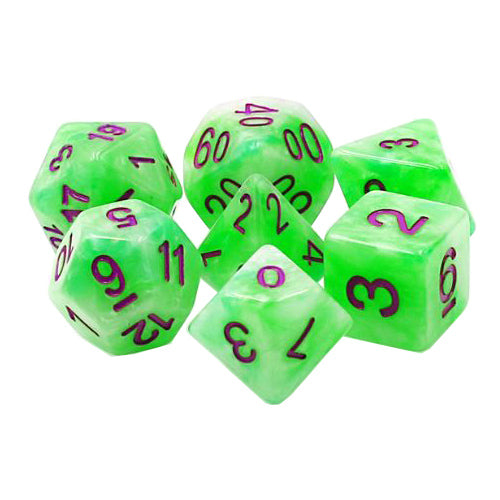 Green Slime Dice - Electric Green Pearl - 7 Polyhedral Set (Acrylic)