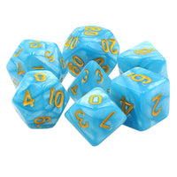 Summer Day - Sky Blue Pearl Dice - 7 Polyhedral Set (Acrylic)