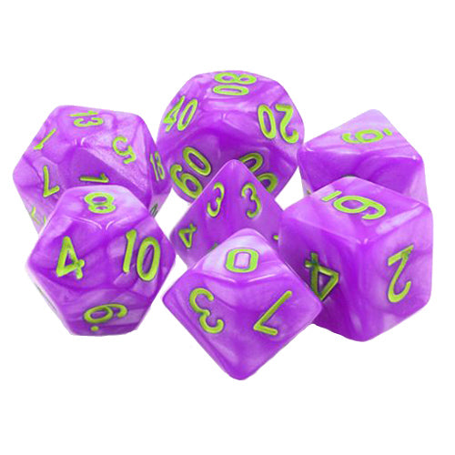 Bright Purple Pearl Dice - 7 Polyhedral Set (Acrylic)