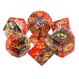 Vampire Flecks Dice - Black and Red Layered Flecks - 7 Polyhedral Set