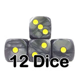 Black Pearl 16mm Pipped d6 Dice (12 count)
