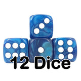 Blue Pearl 16mm Pipped d6 Dice (12 count)