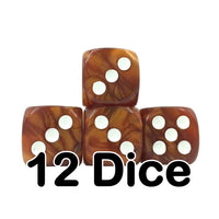 Brown Pearl 16mm Pipped d6 Dice (12 count)