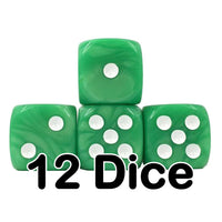 Green Pearl 16mm Pipped d6 Dice (12 count)