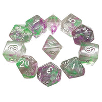 Mint Julep Dice - Green and Purple/Pink Swirls - 11 Polyhedral Set