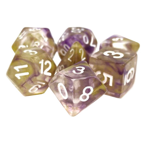 Lavender Lemon Ice - Translucent Purple and Yellow Dice - 7 Polyhedral Set (Polyresin)