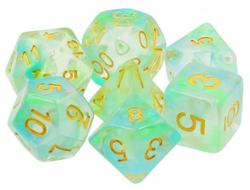 Spring Swirl Dice with Gold Numbers - 7 Polyhedral (Resin)