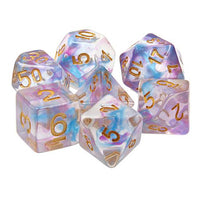 Watercolor Swirl Dice - Purple & Blue Swirls - 7 Polyhedral Set (Resin)