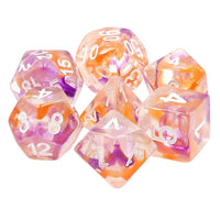 All Hallow's Eve Dice - Purple & Orange Swirl - 7 Polyhedral Set (Resin)
