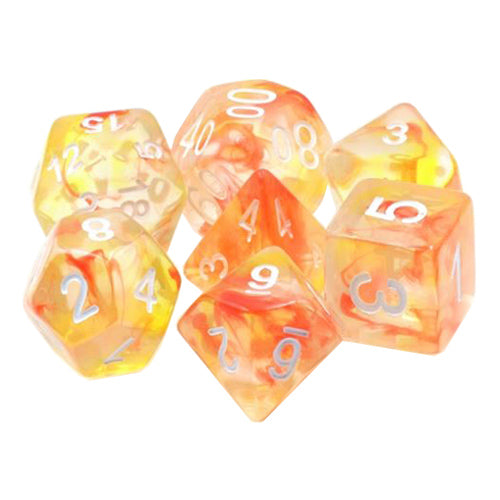 Jack Be Nimble Dice - Orange & Red Swirls - 7 Polyhedral Set (Resin)