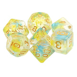 Summer Swirl Dice - Yellow & Blue Swirls - 7 Polyhedral Set (Resin)