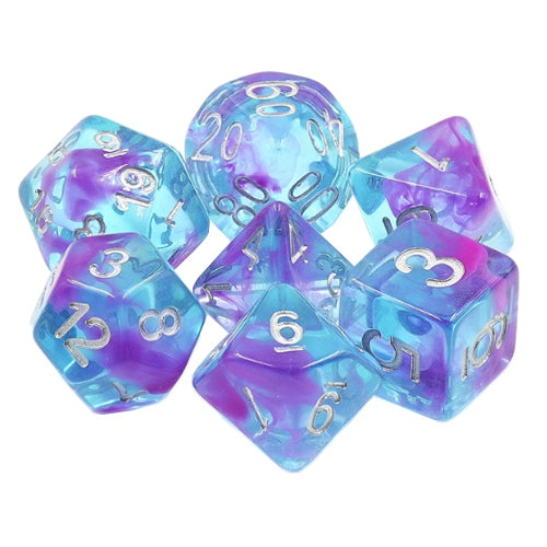 Aquarium Ribbons Dice - Purple Swirls in Blue - 7 Polyhedral Set (Resin)