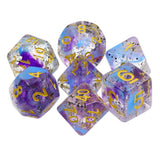 Violet Ashes Dice - Flecks with Blue & Purple Swirls - 7 Polyhedral Set (Resin)
