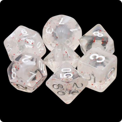 Winter Blossoms Dice - Red Flecks and White Swirls - 7 Polyhedral Set (Resin)