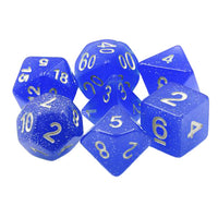 Midday Starlight - Deep Cobalt Blue Glitter Dice - 7 Polyhedral Set (Resin)