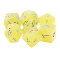 Lemon Chiffon Sparkle Dice - Yellow Glitter - 7 Polyhedral Set (Polyresin)