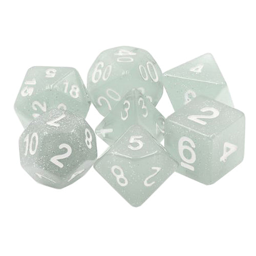 Winter Skies Dice - Translucent Gray with Glitter  - 7 Polyhedral Set (Resin)
