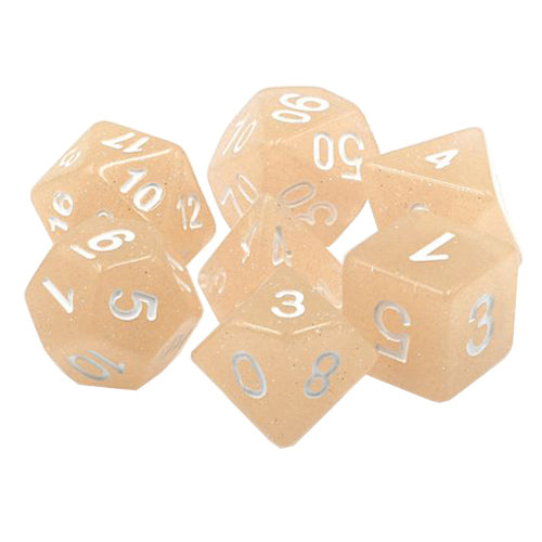 Pink Sands Dice - Glittery Pinkish Beige  - 7 Polyhedral Set