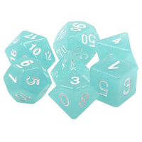Blue Glacier Dice - Glittery Translucent Icy Blue - 7 Polyhedral Set