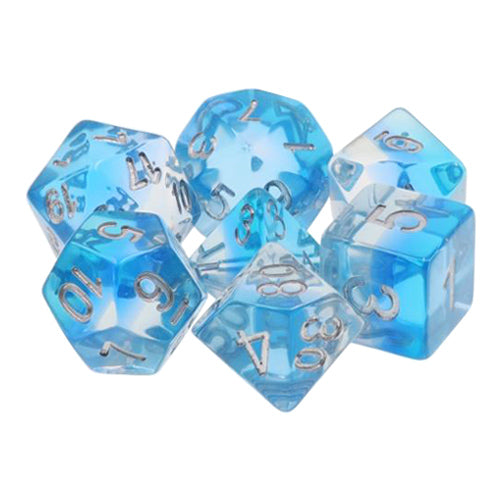 Ocean View Blue and Clear Striped Dice - 7 Polyhedral Set (Resin)