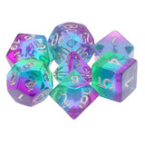 Blue Aurora Striped Dice - 7 Polyhedral Set (Resin)