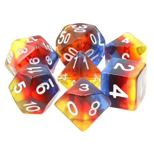 Translucent Burning Cloud Striped Dice - 7 Polyhedral Set (Resin)