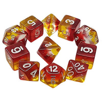 Lava Flow Dice - Yellow, Clear, and Red Layers - 11 Polyhedral Set