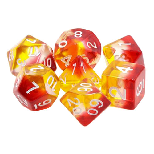 Lava Flow Dice - Red, Clear, and Yellow Layers - 7 Polyhedral Set