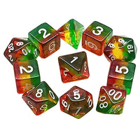 Bear-y Delight Dice - Red, Yellow, & Green Layers - 11 Polyhedral Set