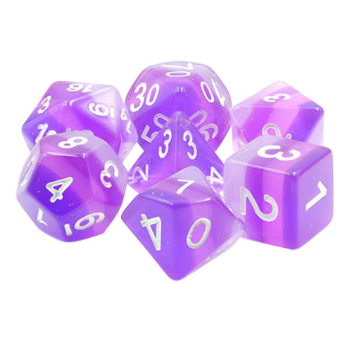 Dusk Dice - Purple Translucent Gradient- 7 Polyhedral Set (Resin)
