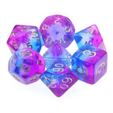 Twilight Sky Dice - Purple & Blue Layers - 7 Polyhedral Set (Resin)