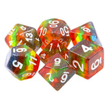 Transparent Glitter Rainbow - 7 Polyhedral Set (Resin)