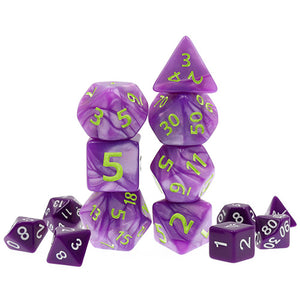 Purple Pearl Dice with Green Paint - Giant 7 Polyhedral Set (Acrylic)