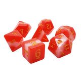 Red/White Stripe Dice - 7 Polyhedral Set (Resin)