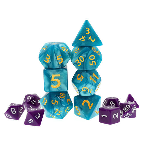 Sea Blue Pearl Dice with Gold Paint - Giant 7 Polyhedral Set (Acrylic)