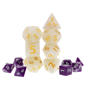 White Pearl Dice with Gold Paint - Giant 7 Polyhedral Set (Acrylic)