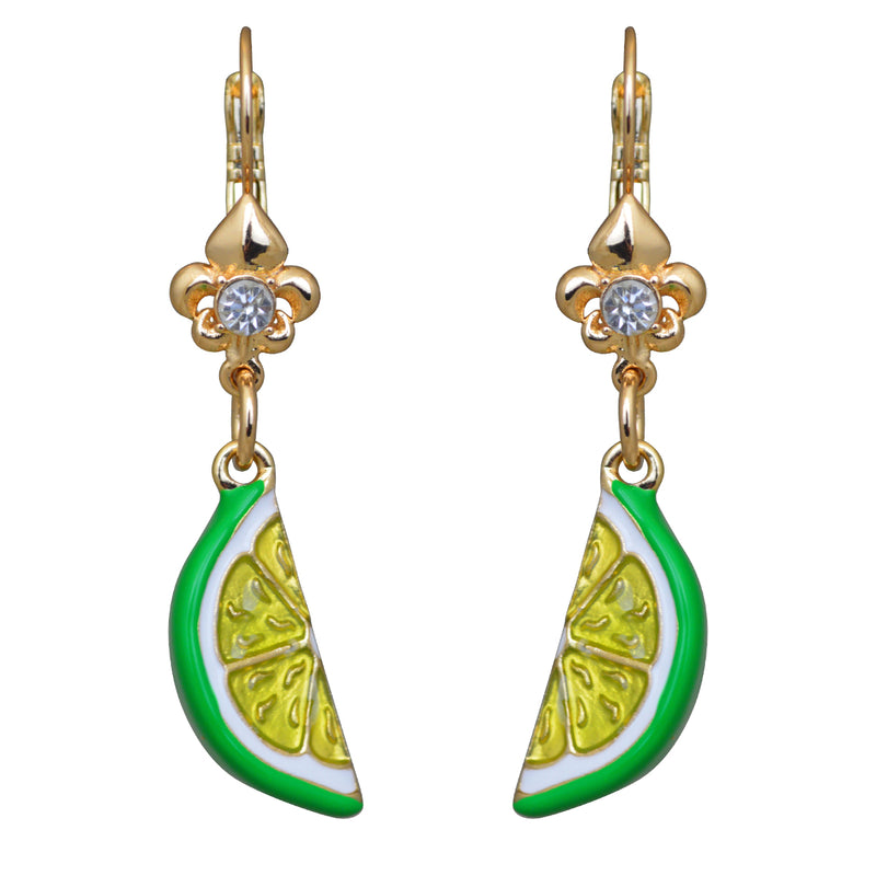 Ritzy Couture Citrus Fruit & Lemon Leverback Dangle Earrings (Goldtone)