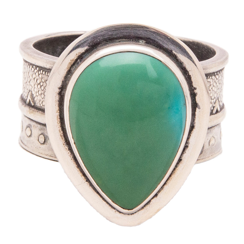 Tabra Jewelry 925 Sterling Silver Chinese Turquoise Ring Size 11 Rare from Esme's Vault OOK375