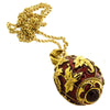 Gold Leaf Ruby Red Charm Pendant - Necklace For Women