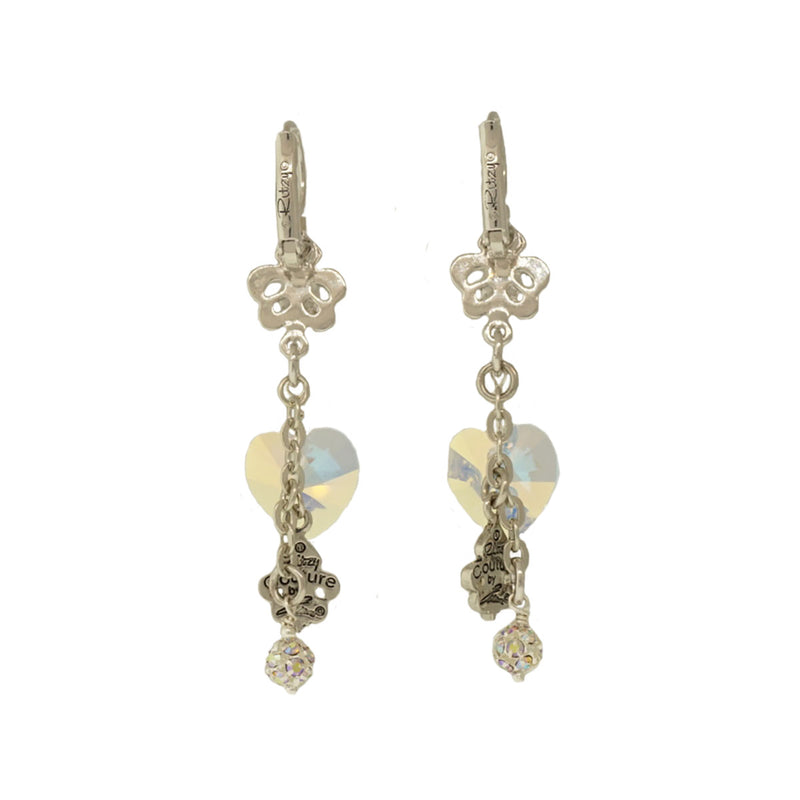 Fleur De Lis Crystal Heart Earrings For Women - Back Side