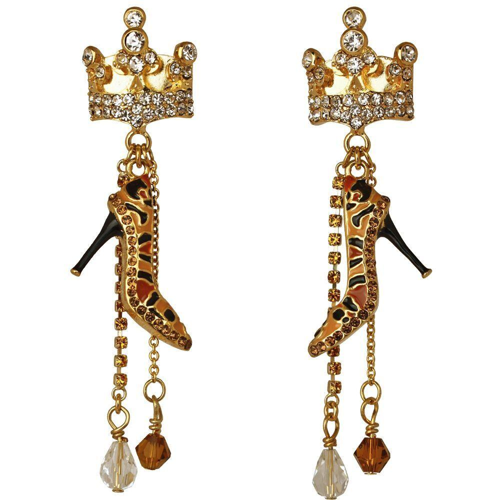 Crown Queen Shoe Shopping Dangle Clip Earrings For Women
