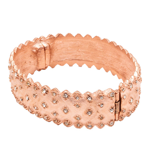 Ancient Greece Inspired Swarovski Crystal Pave Hinged Oval Bracelet (Rose Goldtone) Ritzy Couture