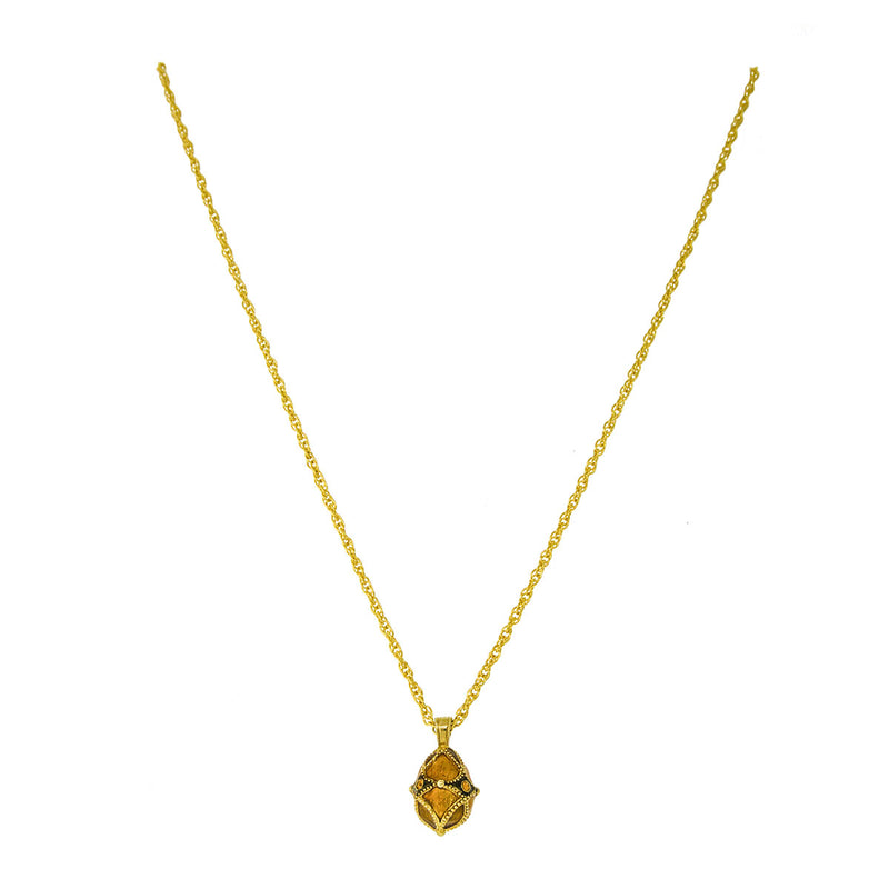 Topaz Egg Charm Pendant Necklaces For Women - Back Side