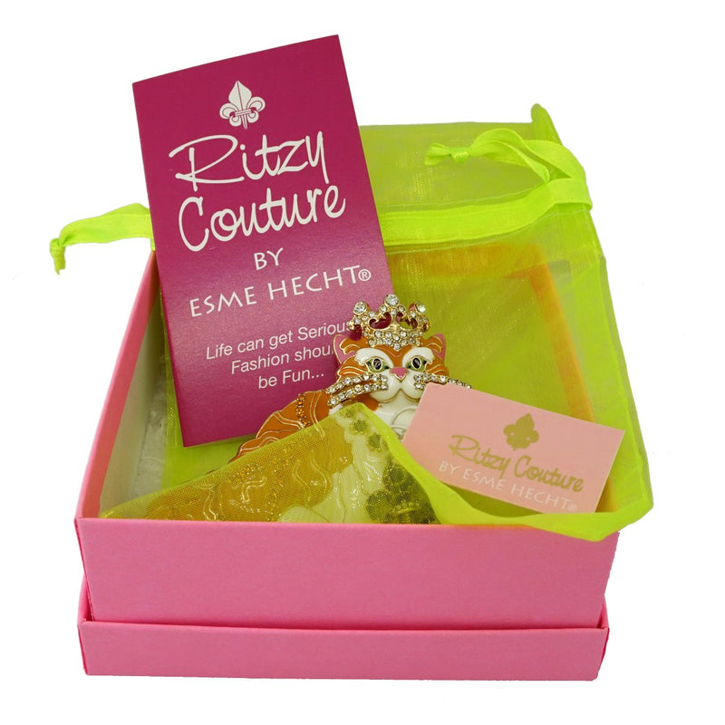 Ritzy Couture Princess Multi Color Tabby Cat Ring (Goldtone)
